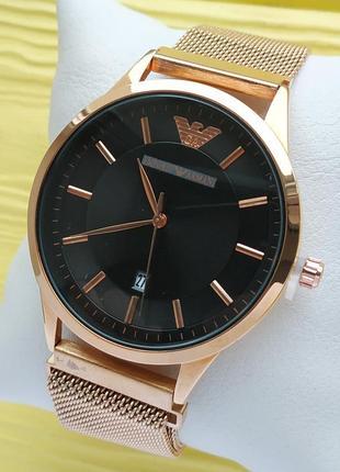 Наручные часы розовое золото с черным циферблатом на магните