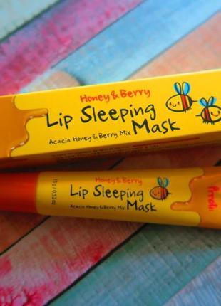 Ночная маска для губ с экстрактами меда и ягод, prreti honey &...