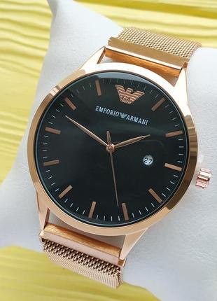 Наручные часы на магните, розовое золото с черным циферблатом