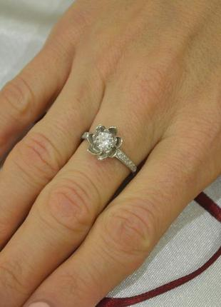 Кольцо цветок пандоры из серебра