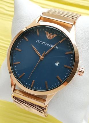 Наручные часы розовое золото с синим циферблатом, магнитная за...