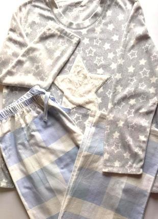 Тёплая женская пижама кофта флис+ штаны байка, primark, l.