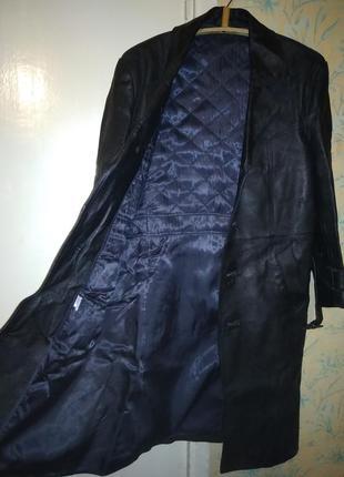 Кожанное мужское пальто с утеплением