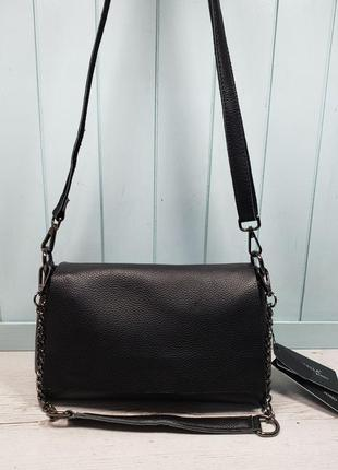 Женская кожаная сумка на три отделения черная farfalla rosso ж...