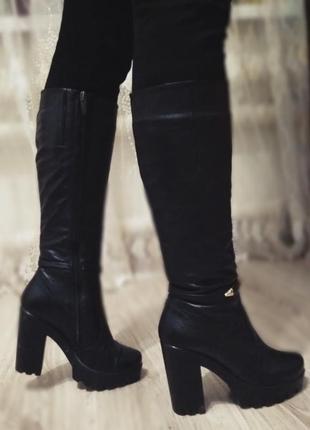 Сапоги женские зимние европейка кожаные на каблуке