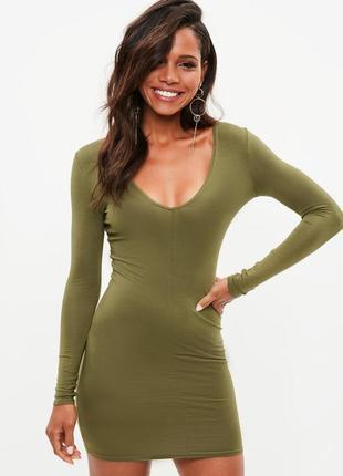 Короткое вискозное платье хаки с длинным рукавом missguided