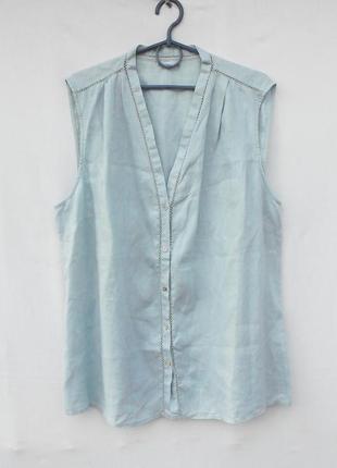 Льняная летняя блузка без рукавов