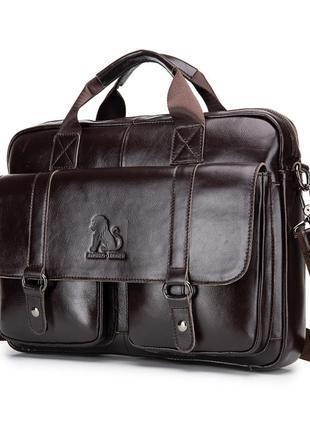Портфель мужской кожаный деловой. сумка для ноутбука из натура...