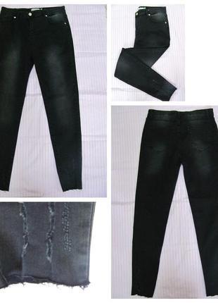Женские джинсы приуженые с высокой посадкой, черные(р.р.32,33,...