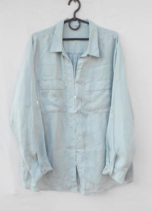 Льняная рубашка с длинным рукавом