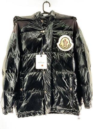Пуховик moncler black теплый зимний женский пуховик/куртка черная