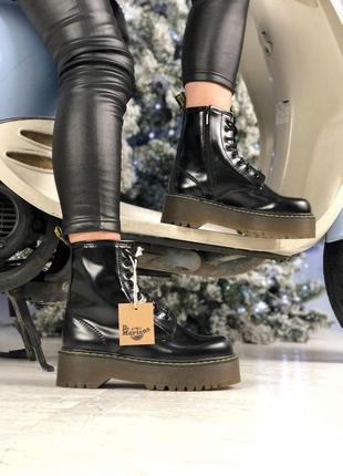 Женские кожаные ботинки/ сапоги dr. martens jadon black fur на...