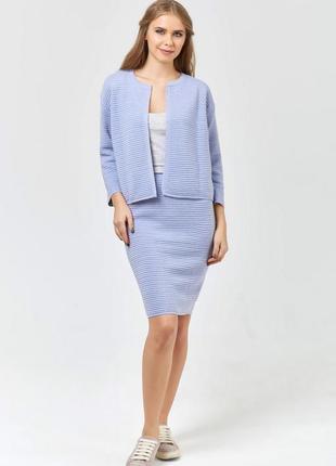 Костюм (пиджак+юбка) теплый вязаный, свободный джемпер, р.44-4...