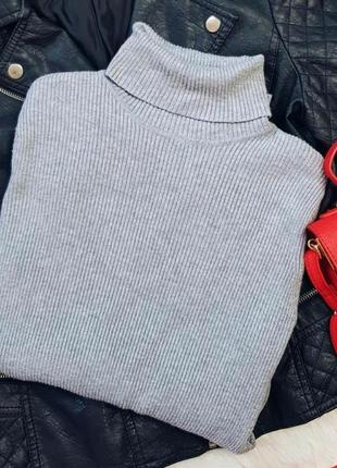 Серый гольф водолазка серая кофта в рубчик свитер сірий джемпе...