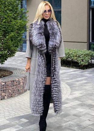 Шикарнон женское пальто с натуральным мехом чернобурки