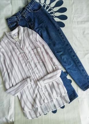 Рубашка в полоску полосатая сорочка белая american eagle біла ...