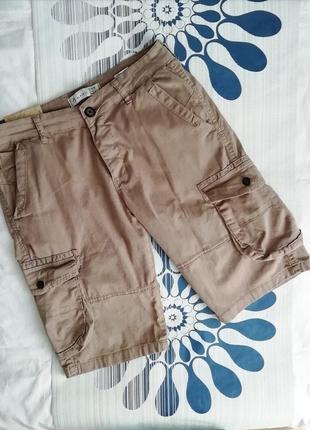 Бежевые мужские шорты с карманами хлопковые карго шорти чолові...