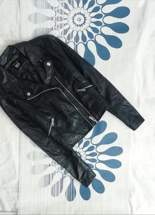 Куртка косуха черная кожаная кожанка чорна шкіряна шкіра эко к...