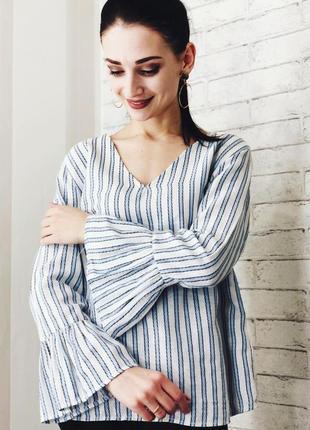 Блуза papaya полоску белая полосатая рубашка сорочка блузка об...