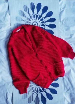 Красный объемный вязаный кардиган оверсайз червоний об'ємний в...
