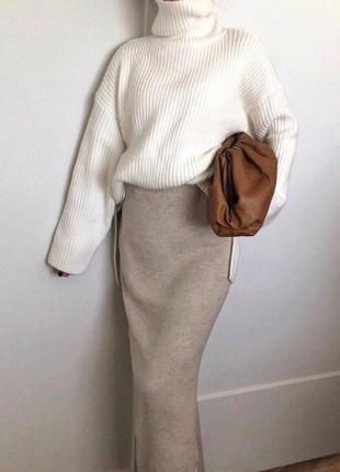 Шерстяная серая юбка миди карандаш трикотажная из альпаки вовн...