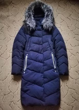 Зимнее пальто синее синє зимове пуховик синий синій на синтепоне