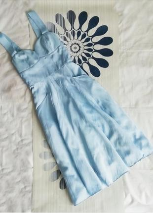 Голубое льняное платье из льна хлопковое голубой сарафан вечер...