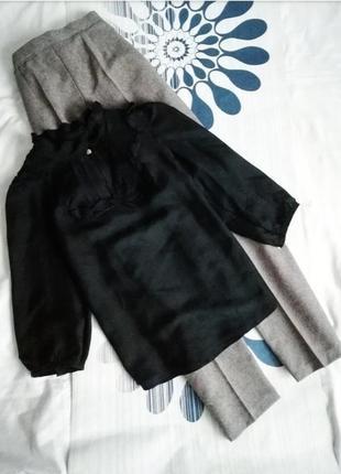 Шелковая черная блуза блузка сорочка шелк классическая шовкова...