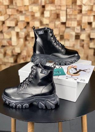 Ботинки ms boots full black (мех) ukrainian fashion  brand