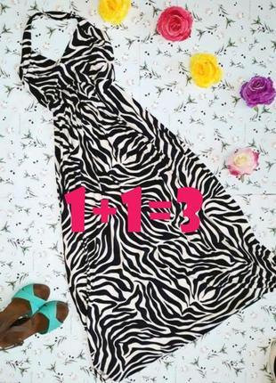 🎁1+1=3 нарядное длинное платье черно-белое с декольте, размер ...