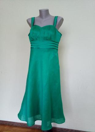 Вечернее нарядное платье лен шелк