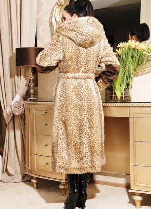 Леопардовая шуба из искусственного меха