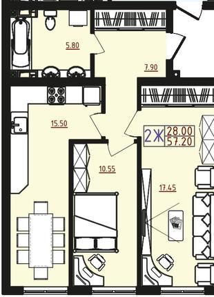 2 комнатная квартира в новом доме на Марсельской