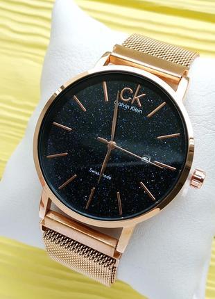 Золотистые наручные часы со звездным небом на циферблате, магн...