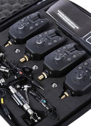 Набор сигнализаторов поклевки с пейджером Lixada JS-4 + свингеры