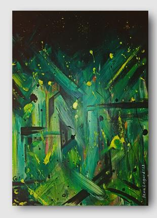 Картина абстракция Green Starfall 50х70 Arna Logard art