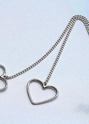 Длинные серьги протяжки с сердцем подвеской серебро коробочка ...