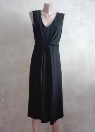 Черное платье без рукавов, миди, ниже колена, вискоза