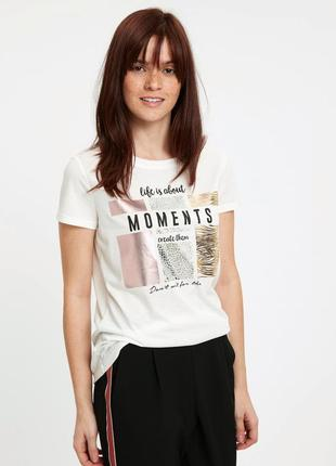 Белая женская футболка lc waikiki / лс вайкики с серебряным, з...