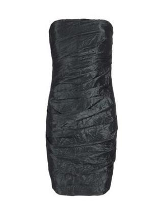 Нарядное черное платье бюстье драпировка allsaints