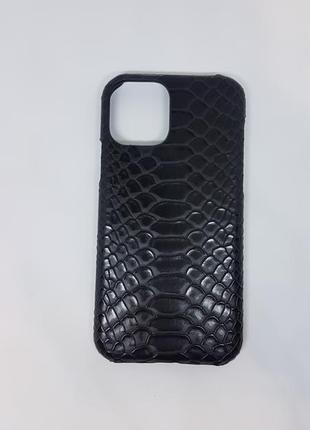 Шикарный чехол для телефона iphone 11 pro под змеиную кожу чер...