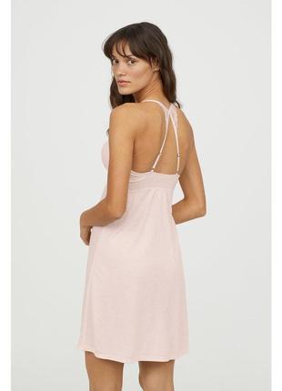 Ночная сорочка/ночнушка с кружевом бледно-розового цвета h&m m