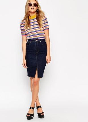 Прямая джинсовая юбка, классика