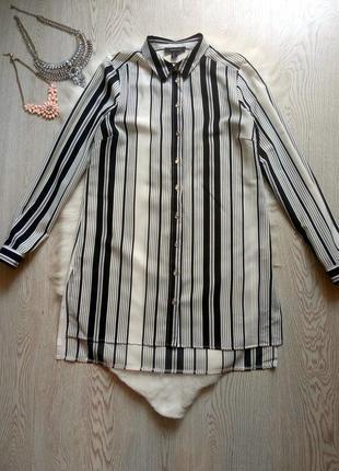 Длинная рубашка туника платье черная белая в полоску шифон дли...