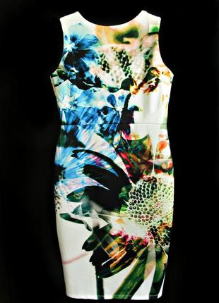 Красочное платье бодикон с вырезом на спине из неопрена, миди ...