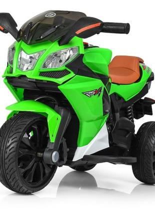Детский мотоцикл M 3912 EL-5, кожаное сиденье, зеленый