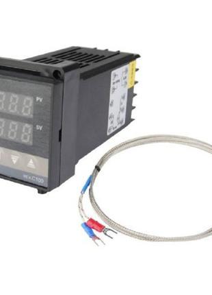 ПИД-терморегулятор REX-C100 +термопара, релейный выход, 100588
