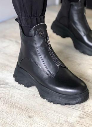 Кожаные зимние ботинки на платформе