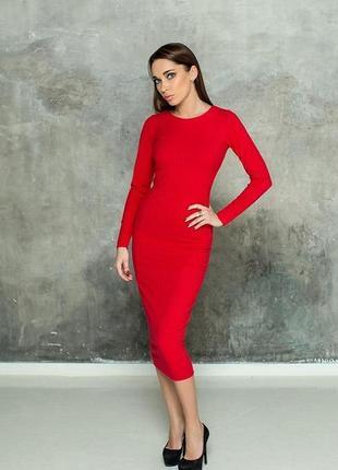 Красивое красное платье ниже колена, миди, xs/s