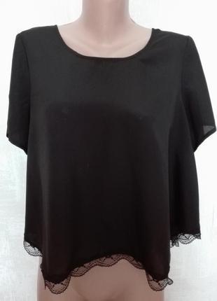 Укороченная широкая блуза, кроп топ с кружевом